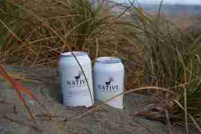 Native Sparkling cans on the beach CREDIT Native Sparkling v2
