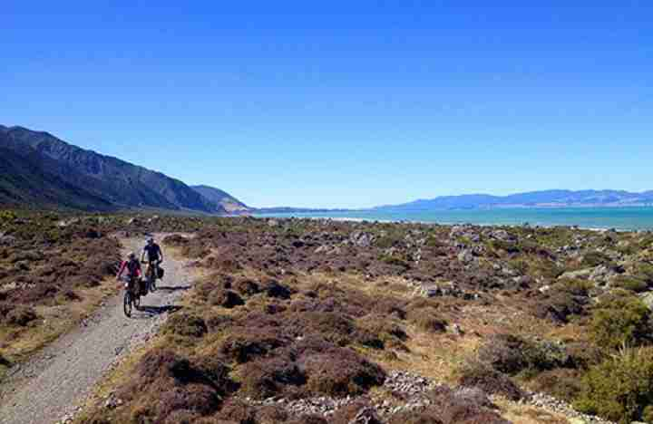Remutaka Cycle Trail Turakirae Head Anne and Toby cycling