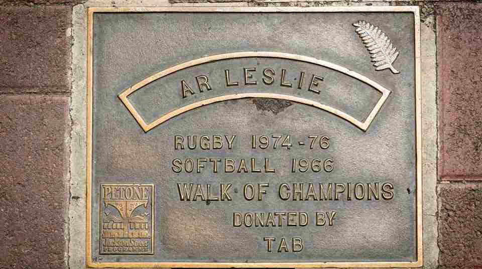 Walk of Champions andy leslie rugby plaque on jackson street