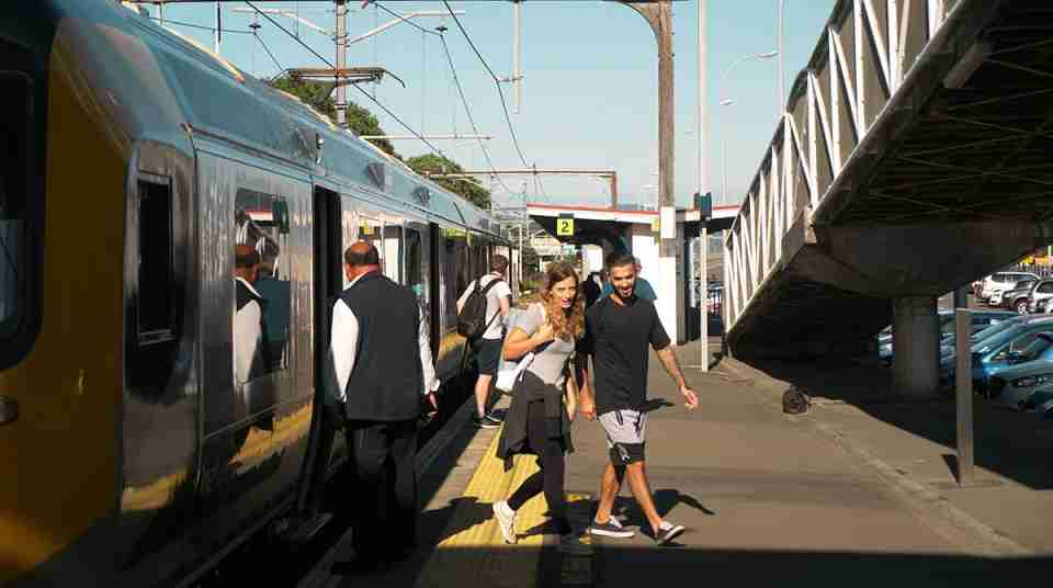 couple getting off train in the Hutt Valley