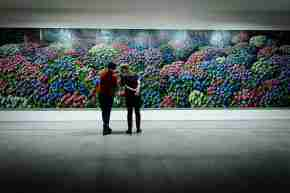 dowse art museum gallery two people admiring very large hanging artwork