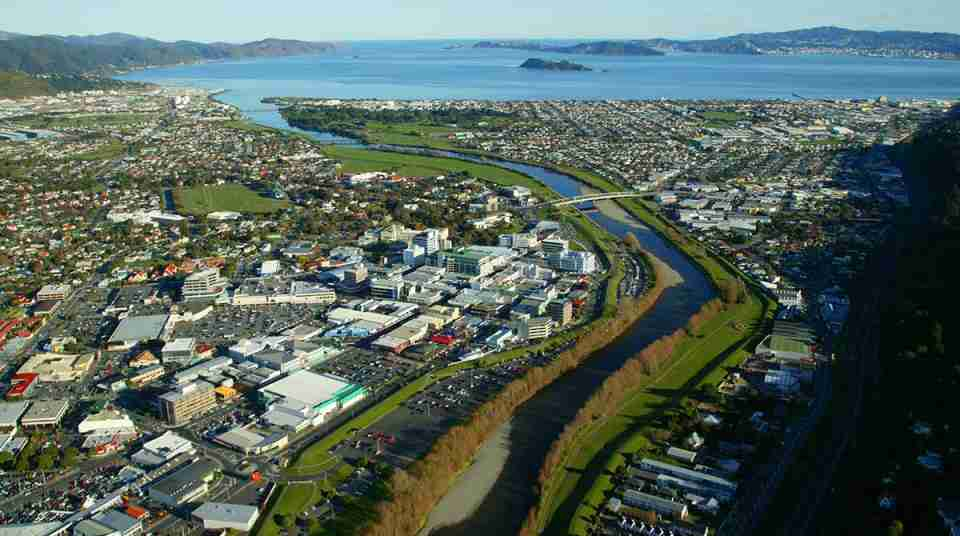 view over Lower Hutt and river